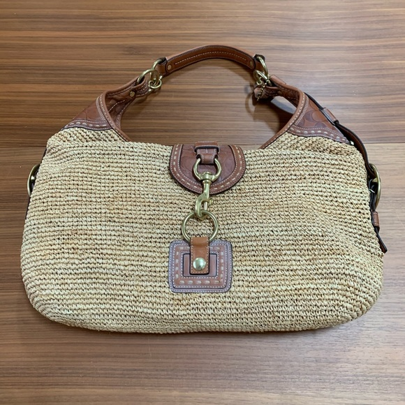 Coach Handbags - Vintage Coach Millie Straw / Leather Hobo Handbag